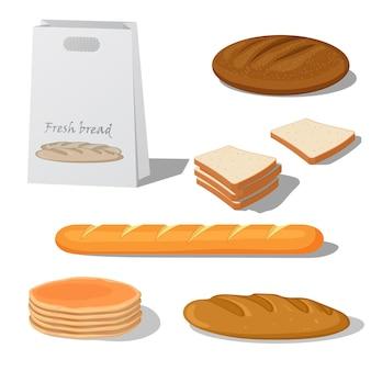 Pane set illustrazione vettoriale stile cartone animato isolato su sfondo bianco, diversi tipi di pane baguette francese, panini, pane per sandwich