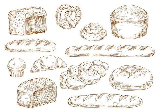 Schizzi di pane con pagnotte lunghe, baguette, pane di grano e segale, croissant, cupcake, pretzel, rotolo alla cannella e panino intrecciato
