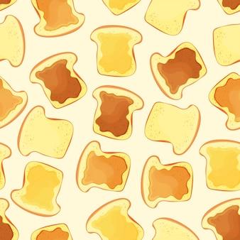 Fetta di pane tostato con marmellata - modello senza soluzione di continuità - illustrazione vettoriale eps