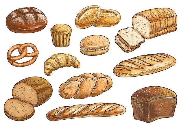 Tipi di pane e clipart da forno. schizzo a matita di vettore pane di segale, ciabatta, pane di grano, muffin, panino, bagel, pane a fette, baguette francese, croissant pretzel biscotto
