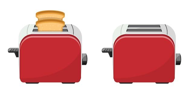 Illustrazione di progettazione del tostapane del pane isolata su fondo bianco