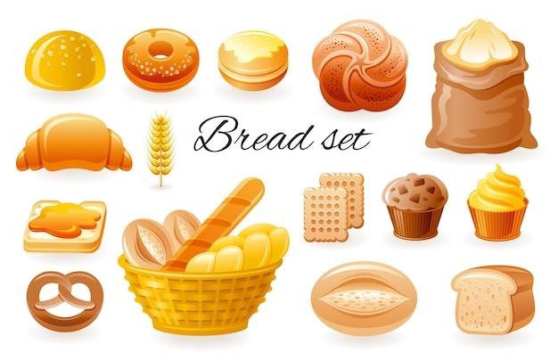 Icone di panetteria di vettore di pane