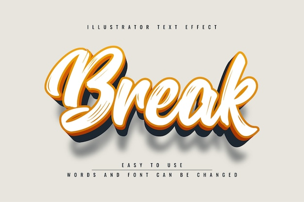 Break - effetto di testo modificabile di illustrator