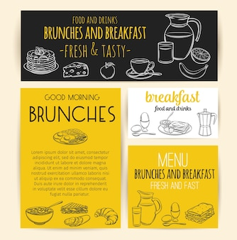 Banner colazione. brocca per incisione di latte, caffettiera, tazza, succo di frutta, sandwich e uova fritte.