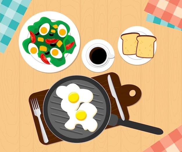 Colazione a base di caffè, uovo fritto, fette di pane tostato. design piatto di illustrazione. disegno dell'illustrazione.