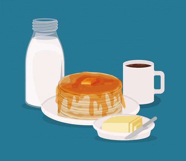Progettazione del caffè e dei pancake della prima colazione, premio del mercato naturale del prodotto fresco del pasto dell'alimento e cucinare l'illustrazione di vettore di tema