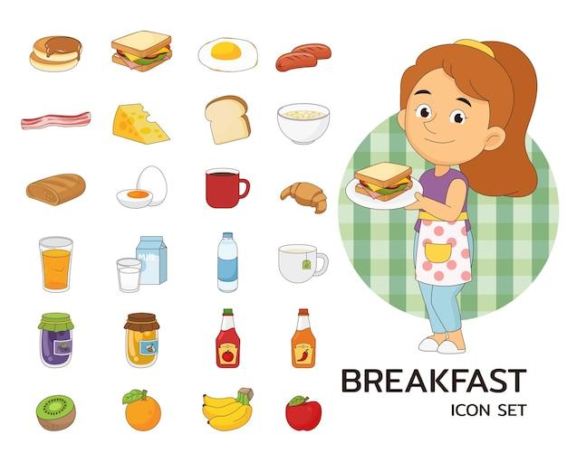 Icona piana di concetto di colazione.