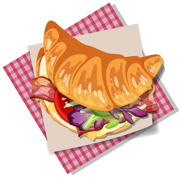 Panino con croissant per la colazione con verdure e pancetta isolate
