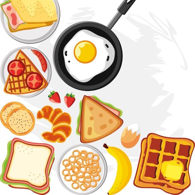 Pane all'uovo e frutta per la colazione