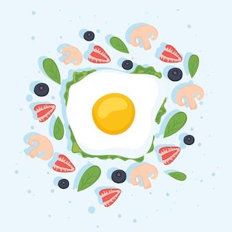 Uovo da colazione con foglie e bacche
