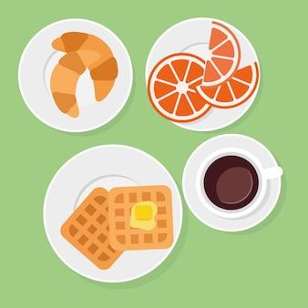 Cibo e bevande per la colazione in illustrazione vettoriale stile piatto