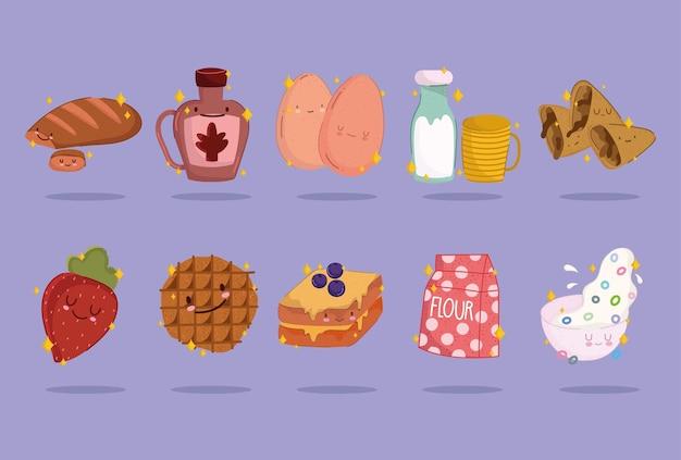 Colazione cibo fresco cartone animato carino clipart sciroppo di pane bottiglia latte cereali frutta biscotto e panino