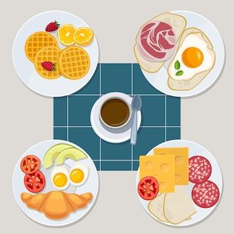 Cibo per la colazione. prodotti di tutti i giorni sani menu croissant frittelle uova panino succo di latte vettore stile cartoon. illustrazione panino sano, pancetta e dessert