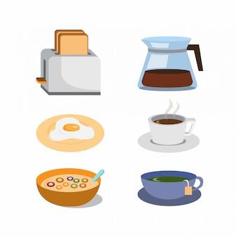 Insieme dell'icona della prima colazione, tostapane, caffè, cereali, illustrazione piana dell'icona del tè
