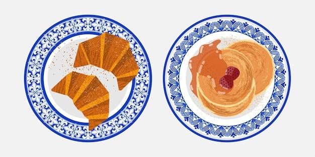 Menu della colazione di croissant e frittelle con piatto in porcellana