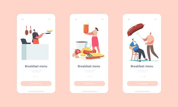 Modello di schermo integrato della pagina dell'app mobile del menu della colazione. caratteri minuscoli al piatto enorme che mangiano la prima colazione completa di frittura inglese tradizionale con il concetto delle uova fritte. cartoon persone illustrazione vettoriale