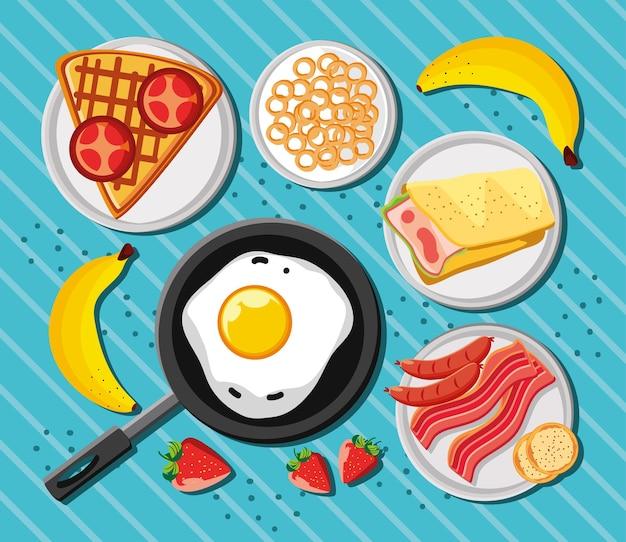Vista dall'alto nutrizionale del menu della colazione