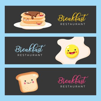 Modelli di menu colazione con illustrazione di cartone animato icone breakfas