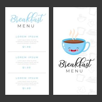 Modelli di menu colazione con illustrazione di cartone animato tazza di caffè