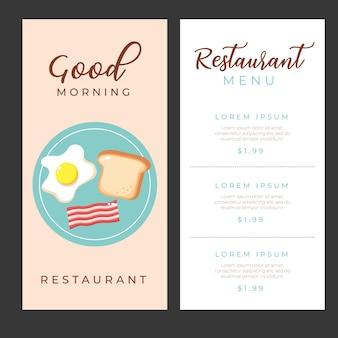 Modelli di menu colazione con illustrazione di cartone animato icone cibo