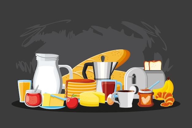 Ingredienti del menu del cibo della colazione del mattino?