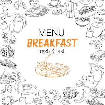Banner contorno colazione. brocca di latte, caffettiera, tazza, succo di frutta, sandwich e uova fritte. frittelle stile incisione retrò, pane tostato con marmellata, croissant, formaggio e fiocchi con latte per la progettazione del menu