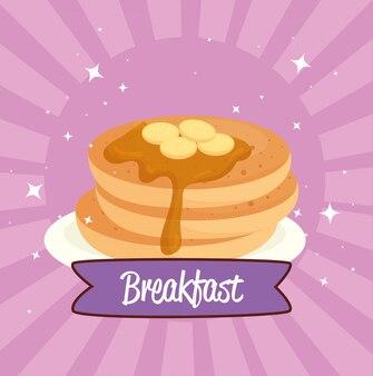 Poster colazione, frittelle con sciroppo