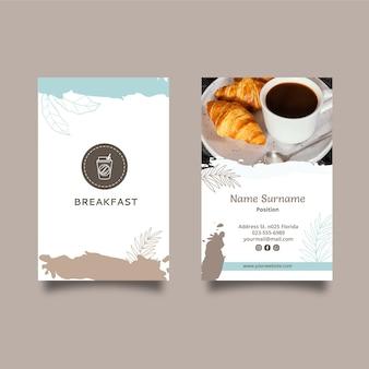 Modello di biglietto da visita del ristorante della colazione
