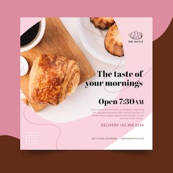 Modello di volantino ristorante colazione