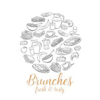 Banner rotondo colazione. brocca di latte, caffettiera, tazza, succo di frutta, sandwich e uova fritte.