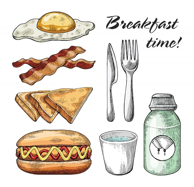 Mano stabilita della prima colazione che disegna stile d'annata su fondo bianco