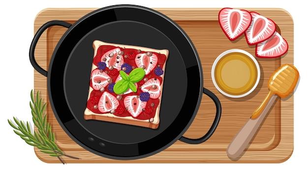 Set colazione in padella con tagliere