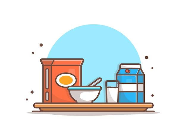 Ora di colazione con cereale e vetro dell'illustrazione dell'icona del latte alla vaniglia
