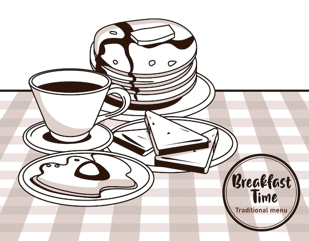 L'ora della colazione con caffè e frittelle