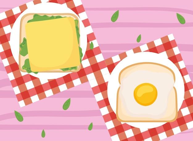 Toast per la colazione con formaggio e uova