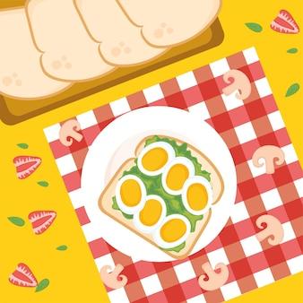 Toast per la colazione con design di uova