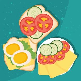 Toast per la colazione con icone di ingredienti sani