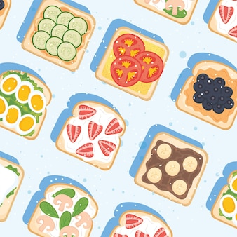 Toast per la colazione con sfondo di ingredienti