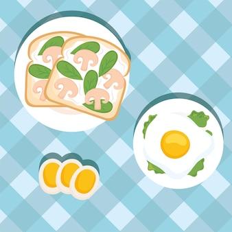 Toast per la colazione con funghi e uova
