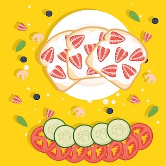 Toast per la colazione con fragole e verdure