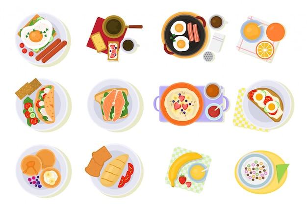 Colazione vettoriale caffè e uova fritte con cornetto e frutta al mattino pausa illustrazione set di porridge di cibo sano o cereali isolato su bianco