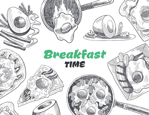 Vista dall'alto di colazioni e brunch. illustrazione di schizzo disegnato a mano dell'annata.