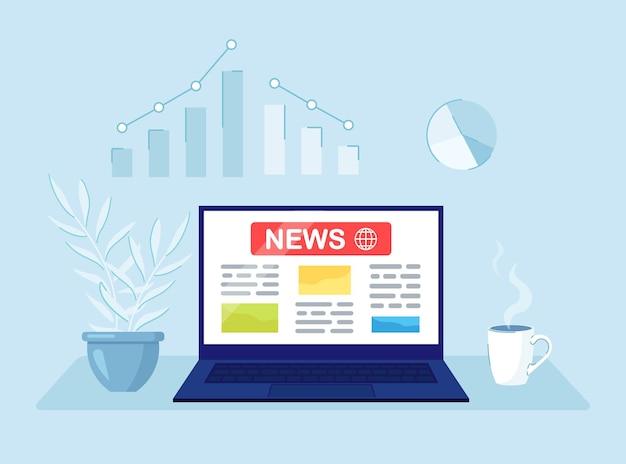 Ultime notizie sullo schermo del computer. concetto di affari di media online.