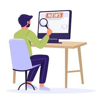 Concetto di ultime notizie. equipaggi le notizie della lettura con una lente d'ingrandimento facendo uso del computer.