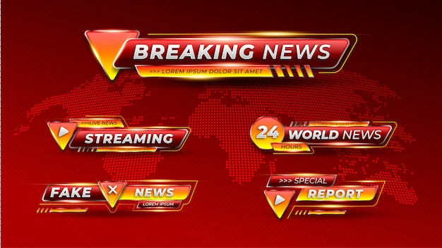Set di banner del terzo inferiore di breaking news