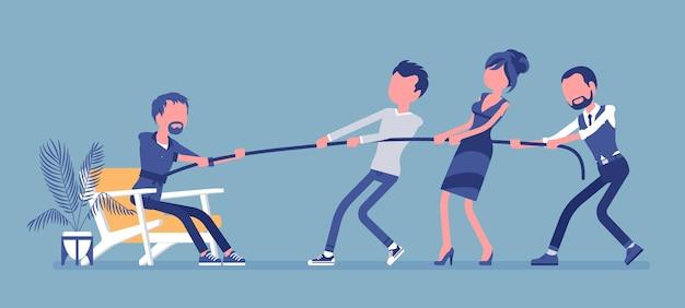 Uscire dalla zona di comfort per ottenere una crescita personale. team di persone che cercano di tirare con fatica un uomo da un ambiente familiare accogliente, dove si sente a suo agio, al sicuro.