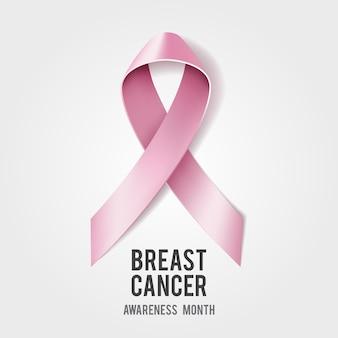 Concetto di consapevolezza del cancro al seno con testo e nastro rosa realistico. illustrazione