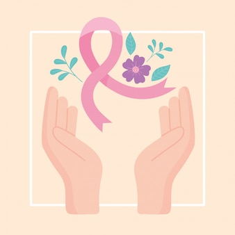 Consapevolezza del cancro al seno mani nastro rosa fiori decorazione disegno vettoriale e illustrazione