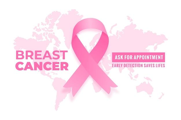 Banner di mese di consapevolezza del cancro al seno con mappa