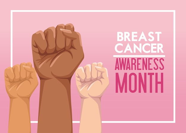 Manifesto della campagna del mese di consapevolezza del cancro al seno con il pugno delle mani che protestano